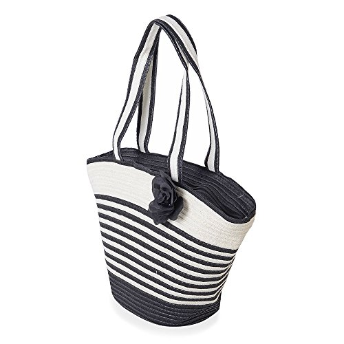 Hat Size Black White Flower Pattern Tote Stripe 47x30x20x13cm Bag Colour Adorned rrgwv8
