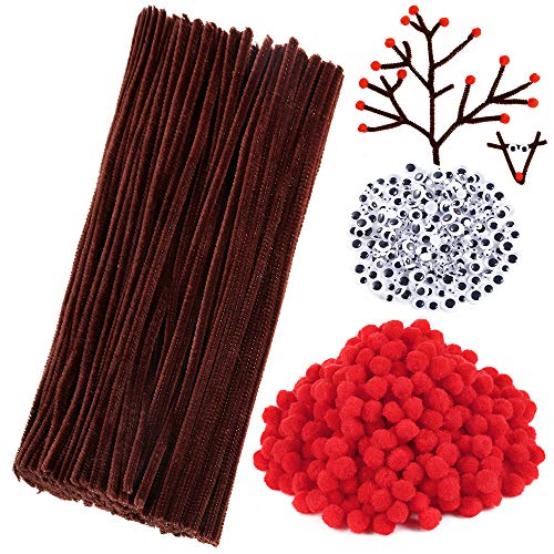 Caydo 400 Pieces Christmas Pipe Cleaners Sets Include Brown Craft Chenille Stems, Red Pompoms and Wiggle Eyes for Craft and Art DIY Decoration (Brown Red Art)
