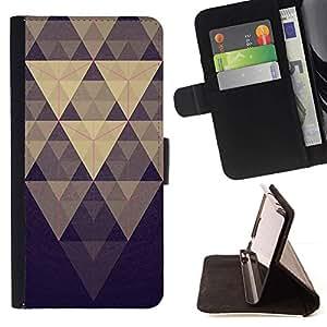 For HTC One A9 Case , Pirámide Modelo azul en colores pastel púrpura- la tarjeta de Crédito Slots PU Funda de cuero Monedero caso cubierta de piel