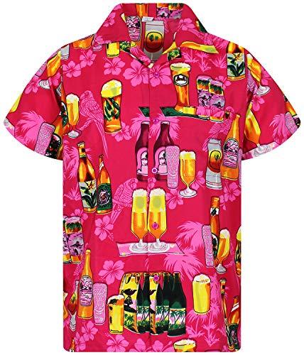 Funky Hawaiian Shirt, Beerbottle, pink, L ()