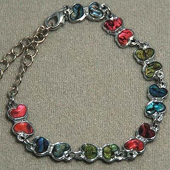 Anklet / Bracelet ~ Multi-Color Paua Shell - Butterfly Paua Shell