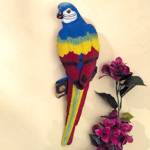 Bits and Pieces - Parrot Motion Sensor Statue - Weather Resistant, Hand-Painted Polyresin Sculpture - Garden - Hand Decorations Painted Polyresin