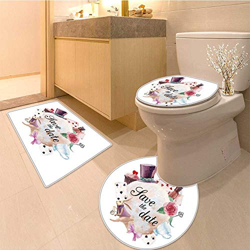 (Miki Da Toilet carpet floor mat watercolor wonderland save the date card hand drawn vintage collage label Non-slip Soft Absorbent Bath Rug)