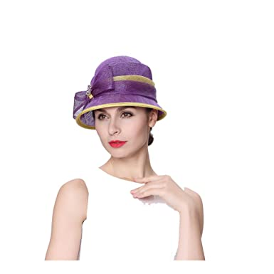 7787be9db5265 Koola s hats Lady 3 Layers Sinamay Wedding Hats Purple Church hat Ascot  Race Derby Hat