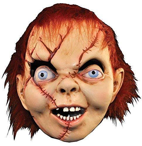 (Mens Ladies Adults Deluxe Bride Of Chucky Child's Play TV Movie Cosplay Convention Horror Scary Halloween Rubber Overhead Fancy Dress Costume Outfit)