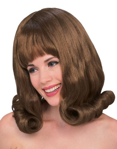 60s Auburn Flip Wig with Bangs