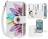 iPhone 5/5S Case,xhorizon TM FLK Premium Leather Folio Case [Wallet] [Magnetic Detachable] Wristlet Purse Flip Multiple Card Slots Case Cover for iPhone 5/5S (Sunflower)