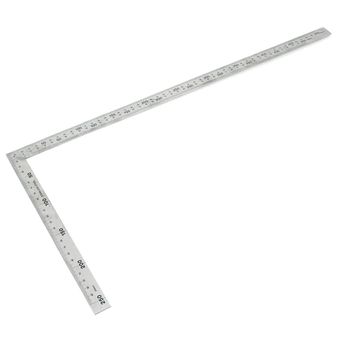 SODIAL(R) Stainless Steel 25x50cm 90 Degree Angle Try Square Ruler Measure Tool