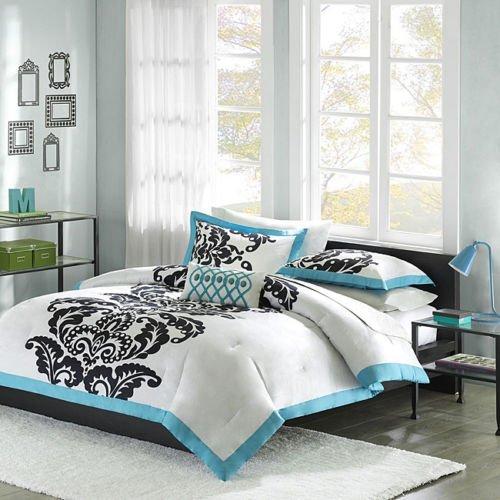 Florentine Comforter Set (Florentine Teal Modern 4 piece Comforter Set Size: Full/Queen by Mizone)