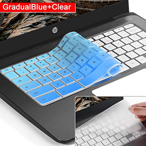 [2 Pack] Ultra Thin Silicone Keyboard Cover Skin for hp chromebook 14,hp 14 inch Touch-Screen Chromebook,hp Chromebook 14-ak Series,14-ca Series,hp Chromebook 14 G2 G3 G4 Series(Gradualblue+Clear)