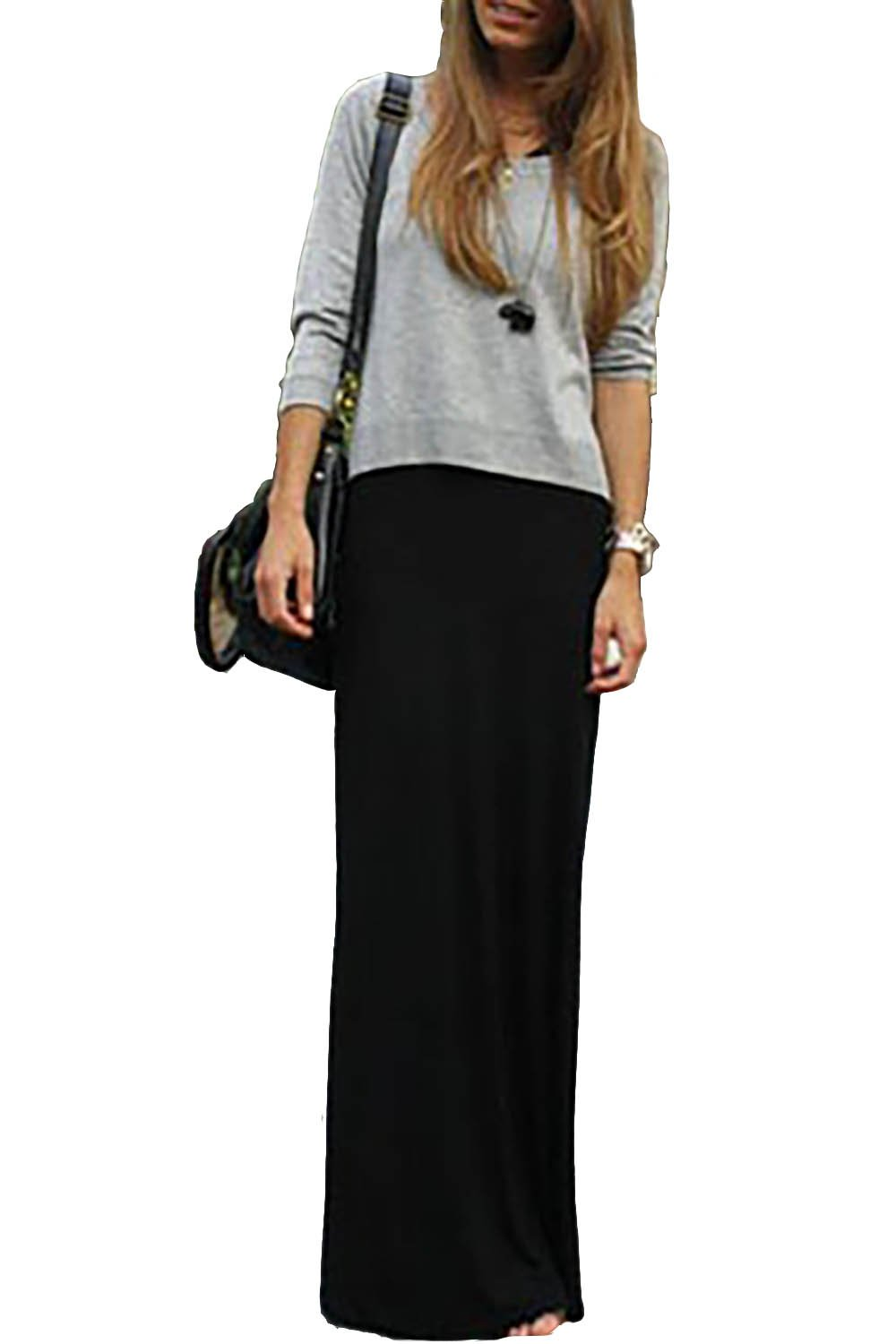 GotStyle Vivicastle Women's Spand Long Solid Rayon Foldover Maxi Skirt (Small, Black)