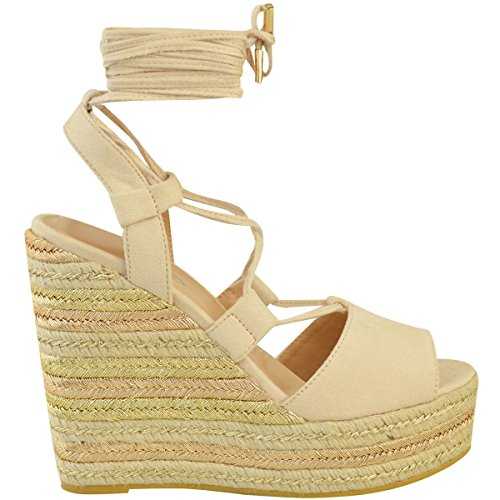 Fashion Thirsty Heelberry® Womens Ladies Wedge Espadrille Sandals Lace Tie Up Strappy Party Platforms Size Nude Faux Suede mtdlGZ