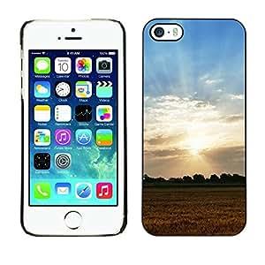 FECELL CITY // Duro Decorativo Carcasa de Teléfono PC Caso Funda / Hard Case Cover foriPhone 5 / 5S // Nature Field Sunset
