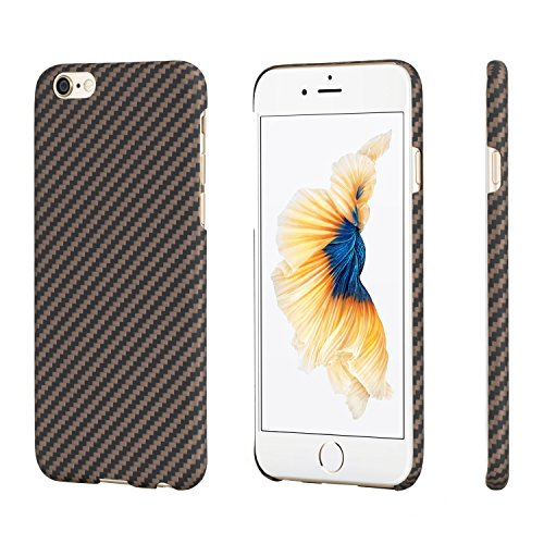 pitaka Minimalist Case Compatible with iPhone 6/6s Case,MagCase Aramid Fiber[Body Armor Material],Ultra Thin Lightest Strongest Durable Snugly Slim Fit Snap-on Phone Case - Black/Golden