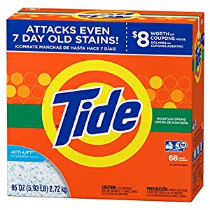 Tide Mountain Spring HE Turbo Powder Laundry Detergent, 68 Loads 95 Ounce