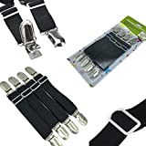 FlyingP Adjustable Bed Sheet Fasteners Suspenders Corner Holder Elastic Straps Suspenders Clips Grippers Mattress Pad Cover Suspenders Ironing Board Cover Fasteners Set of 4