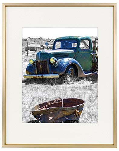 Golden State Art,11x14 Classic Satin Aluminum Landscape Or Portrait Photo Frame with Ivory Color Mat for 8x10 Photo & Real Glass - Photos Classic