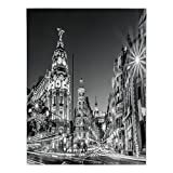 Polyester Rectangular Tablecloth,Black and White Decorations,Madrid City Night Spain Main Street Ancient Architecture Decorative,Grey,Dining Room Kitchen Picnic Table Cloth Cover,for Outdoor Indoor