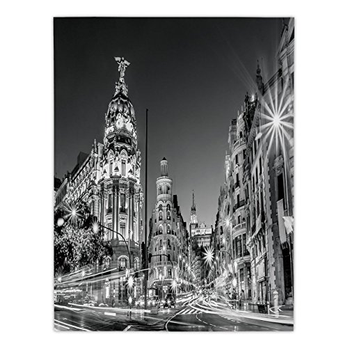 Polyester Rectangular Tablecloth,Black and White Decorations,Madrid City Night Spain Main Street Ancient Architecture Decorative,Grey,Dining Room Kitchen Picnic Table Cloth Cover,for Outdoor Indoor by iPrint