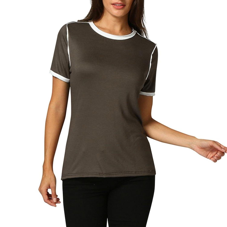 f23b00b8c05d9f preiswerte BakeLIN Damen Reine Farbe Spleißen T Shirt Frau Casual O  Ausschnitt Kurzarm Tops Bluse Oberteil