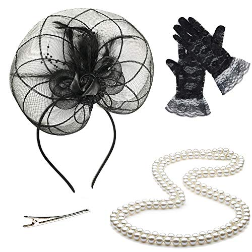 (Fascinators 20s 50s Hats for Womens,Cocktail Party Hat,Tea Party Wedding Headband,w/Pearl Necklace & Lace Gloves (OneSize, 02-Black))