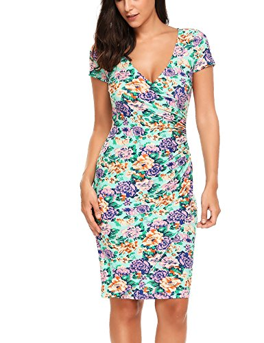 l Short/ long sleeve Slim Bodycon Pencil Sheath Midi Dress, Floral 1, Large ()