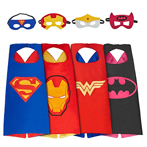 MIJOYEE Superhero Dress Up Costumes Capes for Kids (Boys Girls) and Mask set of 4 different styles