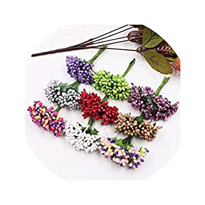 12Pcs/Lot Handcraft Artificial Flowers Stamen Sugar Wedding Party Decoration DIY Wreath Gift Box Scrapbooking Fake Flowers 49
