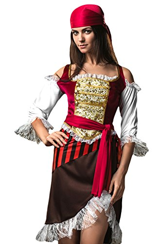 [Adult Women Tavern Wench Halloween Costume Spicy Buccaneer Dress Up & Role Play (Small/Medium, red, white, brown, black,] (Halloween Pirate Woman Costumes)