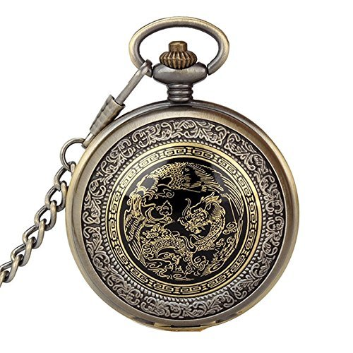 SwitchMe Retro Quartz Pocket Watch Japan Movement with Belt Clip Chain Dragon and Phoenix Bronze