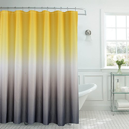 Creative Home Ideas Ombre Textured Shower Curtain with Beaded Rings, Yellow/Grey