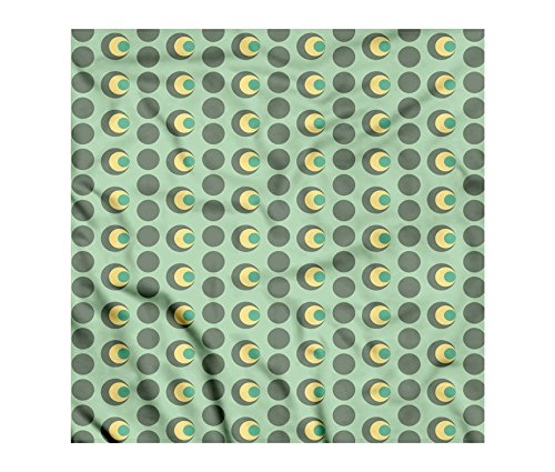 Retro Bandana by Lunarable, Nested Circles Dots Half Moon Shapes Geometrical Tile Pattern, Printed Unisex Bandana Head and Neck Tie Scarf Headband, 22 X 22 Inches, Mint Green Sage Green Pale Yellow (Moon Half Head)