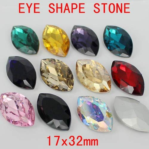 (Kamas 20cs 17x32mm Marquise Glass Stones Eye Shape Loose Imitation Crystal Rhinestones Great For Scrap Booking Home Kamas (Color: gold champagne))