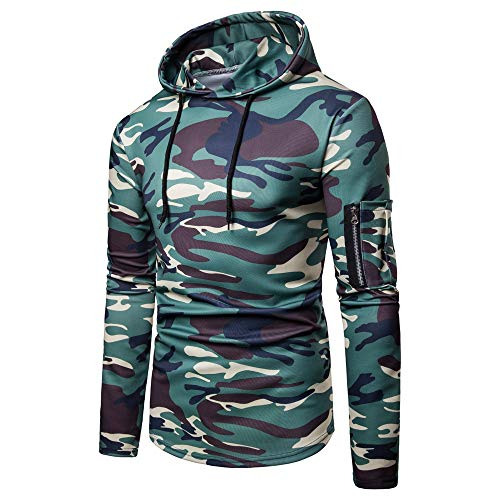 Toimothcn Mens Camouflage Hoodies Sweatshirts Casual Slim Fit Zip Hooded Pullover Blouse Top (Green,XL)