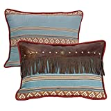 HiEnd Accents Oblong Blue Striped Pillow with Fringe, 14''x21'' Multi/Western