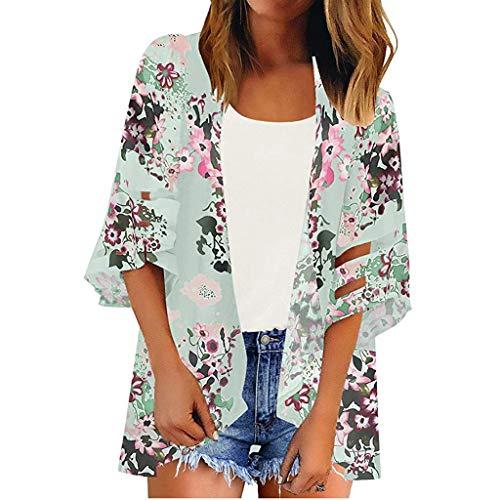 Zohto Women Mesh Panel 3/4 Bell Sleeve Floral Chiffon Casual Loose Kimono Cardigan ()