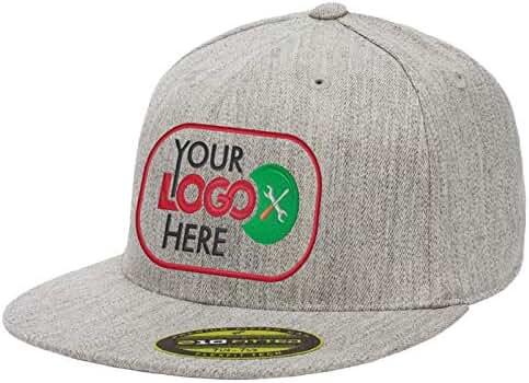 c1fcccaea5494 Personalized Flexfit 210 Cap. Custom Logo Hat. Embroidered. Fitted Flat Bill