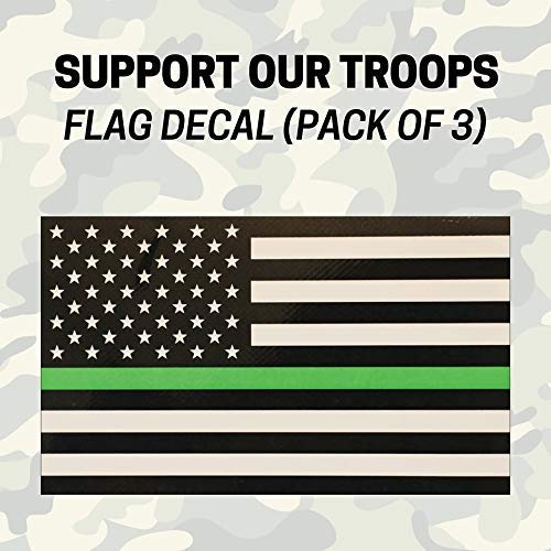 Subdued Support Our Troops Green Stripe American Flag Decal (Pack of 3), Improved Thickness!
