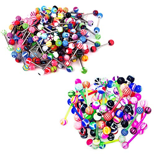- Lot of 20 Assorted Flexible Acrylic & Surgical Steel Barbell Tongue Rings 14 Gauge (20 Pack) In Assorted Colors