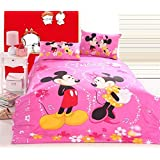 SinghsVillas Decor Kid's Cartoon 144 TC Cotton Bedsheet with 2 Pillow Covers - Queen Size, Pink