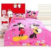 SinghsVillas Decor Kids Cartoon 144TC Cotton Single Bedsheet With 1 Pillow Covers-Pink