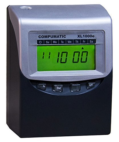 Compumatic XL1000e Calculating Time Clock Bundle (Includes 100 Time Cards, 10 Pocket Time Card Rack, Spare Ribbon, New XL1000e Heavy Duty Computerized Time Recorder)