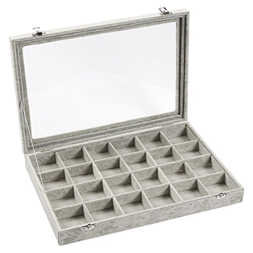 Jewelry Box – Stackable Display Case, Jewelry Holder, Storage Box for Necklaces, Pendants, Bracelets with Transparent Glass Top, 24 Compartments, Grey - 14 x 2 x 9.5 Inches