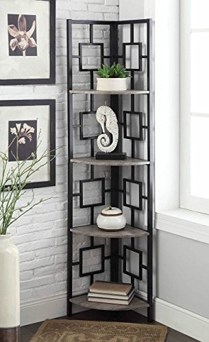 Weathered Grey Oak Finish Black Metal Wall Corner 4-Tier Bookshelf Bookcase (4 Shelf Black Metal Bookcase)