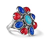 American West Sterling Silver Turquoise Lapis Red Coral Cluster Ring