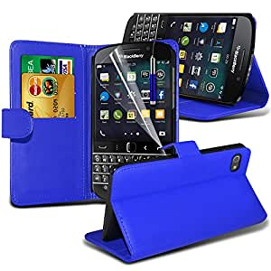 Fone-Case ( Blue ) Blackberry Q20 Classic Case Brand New Luxury BookStyle PU Leather Wallet Flip With Credit / Debit Card Slot Case Skin Cover With LCD Screen Protector Guard, Polishing Cloth & Mini Retractable Stylus Pen