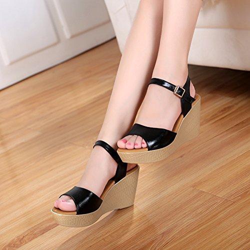 Cómodo Chanclas Alto Zapato Negro Grueso para Impermeable mujer de AWXJX Abierto Tacón Inferior 0qwCUgUF