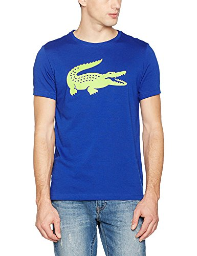 Lacoste Men's Men's Sport Blue T-Shirt With Oversized Logo in Size 4-M Blue by Lacoste