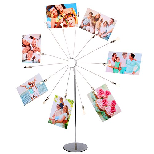 Desktop Photo Holder (Kufox Metal Sunflower Style 14 Branches Clip Photo Display Stand, Photos/Notes/Postcards/Papers Desktop Holder For Decor,Size : 20.7