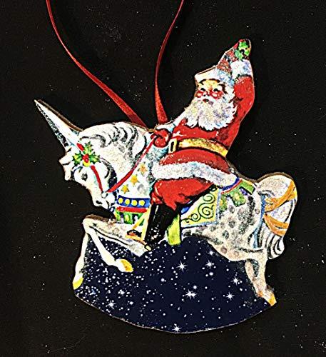 Santa Riding Unicorn Ornament Handcrafted Wood, Christmas Unicorns, Fantasy Creatures, Daughter Gift, Christmas Decoration, Children's Room